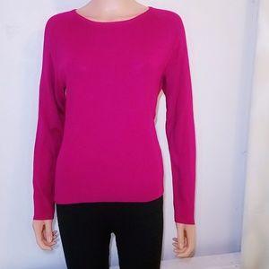 #796 Talbots Fuchsia Pink Crew Neck Shirt Medium